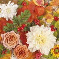 Servietten 33x33 cm - Autumn Flowers Wallpaper