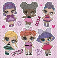 Servietten 33x33 cm - Cool Dolls