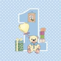 Servietten 33x33 cm - First Birthday with Teddy Blue