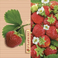 Servietten 33x33 cm - Delicious Strawberries with Ticket