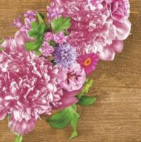 Servietten 33x33 cm - Pink Wreath with Peonies