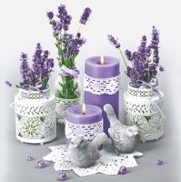 Servietten 33x33 cm - Lace Flower Pots with Lavender
