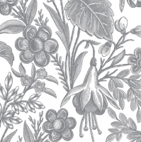 Servietten 33x33 cm - Floral Illustration Silver