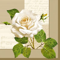 Servietten 33x33 cm - White Rose
