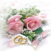 Servietten 33x33 cm - Wedding Rings & Pink Roses