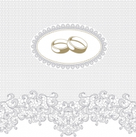 Servietten 33x33 cm - Wedding Rings with Silver Ornaments
