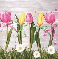 Servietten 33x33 cm - Pink & Yellow Tulips