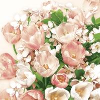 Servietten 33x33 cm - Rosa Tulpen & Kirschblüte