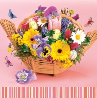 Servietten 33x33 cm - Colourful Bouquet in a Basket