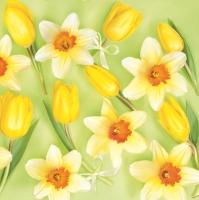 Servietten 33x33 cm - Gelbe Tulpen und Narzissen