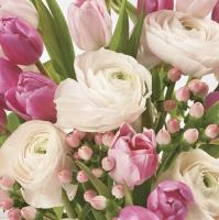 Servietten 33x33 cm - Pastel Pink Flowers