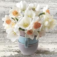 Servietten 33x33 cm - Cup Full of White Daffodils