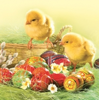 Servietten 33x33 cm - Easter Eggs with Two Chickens