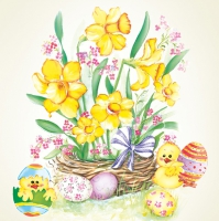 Servietten 33x33 cm - Daffodil Bunch with Happy Chicks