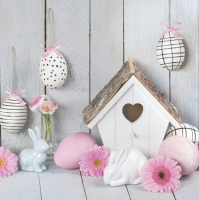 Servietten 33x33 cm - Easter Motives & Bird House
