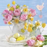Servietten 33x33 cm - Pastel Spring Flowers with Easter Eggs