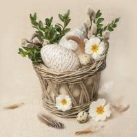 Servietten 33x33 cm - Vintage Eggs in Basket