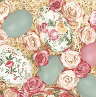 Servietten 33x33 cm - Roses with Decoupage Eggs