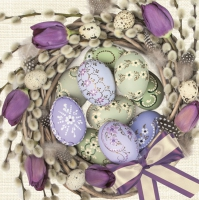 Servietten 33x33 cm - Violet Tulips Wreath with Eggs