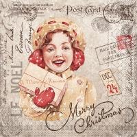 100 Tissue Lunch Servietten - Weihnachtspost (grau/rot)