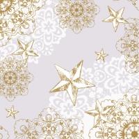 Linclass Servietten 40x40 cm - STERNENSCHEIN grau-gold