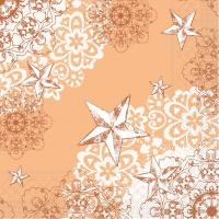 100 Tissue Dinner Servietten STERNENSCHEIN apricot-terrakotta