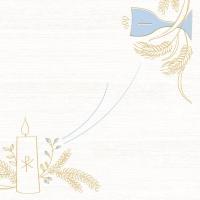 Linclass Servietten 40x40 cm - Kommunion/Konfirmation  (blau/grau)