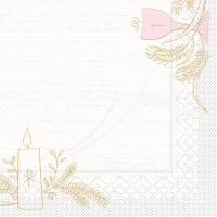 100 Tissue Lunch Servietten - Kommunion/Bestätigung (rosa/grau)