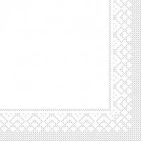 Tissue Servietten 33x33 cm - BASIC  WEISS  33x33 cm 1/4-Falz