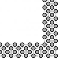Linclass Servietten 40x40 cm - Art-Deco-Circles  (silber/schwarz)