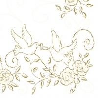Linclass Servietten 40x40 cm - Hochzeit (creme/gold)