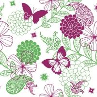 Linclass Servietten 40x40 cm - Natalie  (pink/grün)