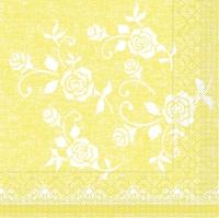 Tissue Servietten 33x33 cm - Lace  (gelb)