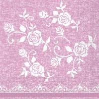 Tissue Servietten 33x33 cm - Lace  (rosé)