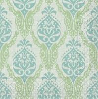 100 Tissue Dinner Servietten - Doris (grün/blau)