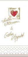 Tissue Servietten 40x40 cm - Herzl. Willkommen & Guten Appetit (1/8)