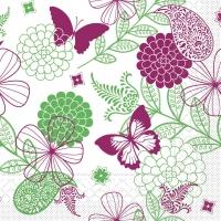 Tissue Servietten 40x40 cm - Natalie  (pink/grün)