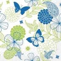 100 Tissue Dinner Servietten - Natalie (blau/grün)