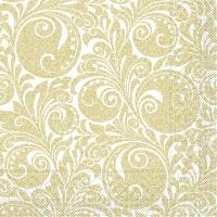Tissue Servietten 33x33 cm - Jordan  (weiss/gold)
