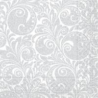 Tissue Servietten 40x40 cm - Jordan  (weiss/silber)