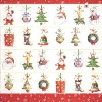Servietten 33x33 cm - Hängende Ornamente
