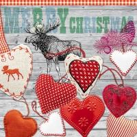 Servietten 33x33 cm - X-mas Hearts