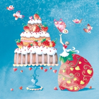 Servietten 33x33 cm - Strawberry Cake