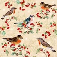Servietten 33x33 cm - Birds on Ilex