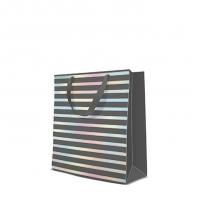 10 Geschenktaschen - Reflex Stripes  grey medium