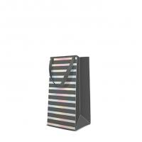 10 Geschenktaschen - Reflex Stripes  grey narrow