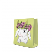 10 Geschenktaschen - Bunny in Wreath medium