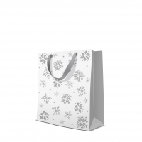 10 Geschenktaschen Premium - Glitter Snowflakes silver