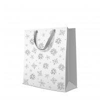 10 Geschenktaschen - Glitter Snowflakes silver