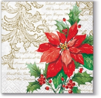 Servietten 25x25 cm - Stilvoller Weihnachtsstern (weiß)
